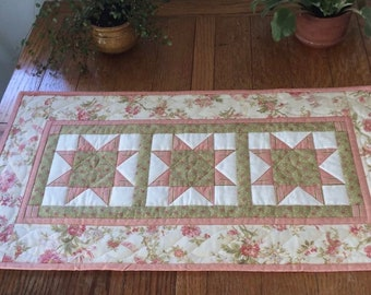 "Hand Quilted Table Runner 3 Stars 17"" x 32.5"" Pink and Green Handmade"