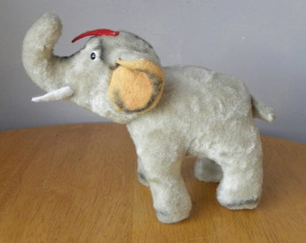 Vintage Elephant - 1950's Toy - Jumbo - Stuffed Elephant