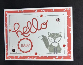 New Baby card, Baby Shower card, handmade baby card, fox