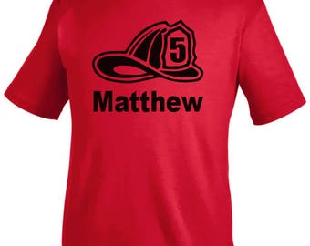 Fireman Birthday Shirt, fireman hat shirt, boy birthday shirt, firetruck birthday