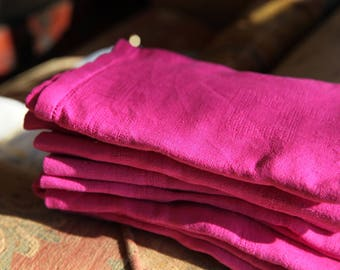 8 Bright Pink Antique French Napkins