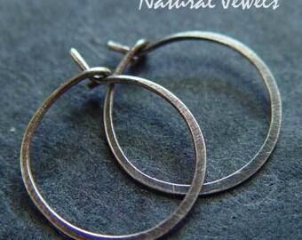 925 sterling silver loop hoop oxydees, hammered and brushed