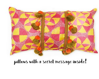 Spinning Pink with Pom Pom's - pillow with a secret message