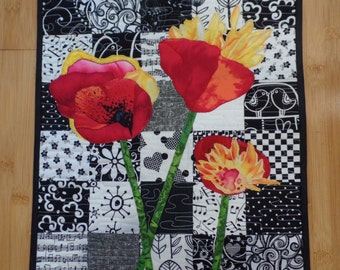 Art Quilt, Wall Hanging, Original Design, Poppies, Applique, Floral, Black and White, Handmade