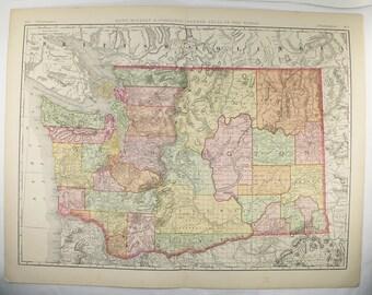 Antique Washington Map, Large Wall Map of Washington State Map 1897 Vintage WA Map, Large Color Map WA, Washington Wedding Gift for Couple