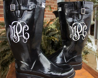 Black Solid Rain Boots- Sorority Gifts, Bridesmaid Gifts, Graduation Gifts, Gifts For Her, Personalized Boots, Solid Rain Boots, Monogram