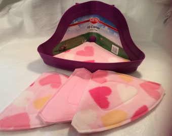 Pink Hearts Fleece Corner Litter Liner Pads Set of 4 for Ferrets Rabbits Guinea Pigs