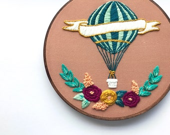 Embroidery Kit for Beginners, Hot Air Balloon, Hand Embroidery Art, DIY Craft Kit, Learn to Embroider, Modern Embroidery, Hoffelt and Hooper