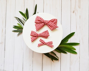 Red Gingham Check Hand-tied Simple Fabric Bow Nylon or Clip