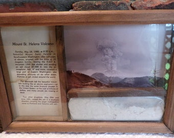Mount St Helen's Framed Picture & Ash from May 18,1980, Rare Volcano ash, WA State Volcano ash and story, Framed Ash picture, Morethebuckles