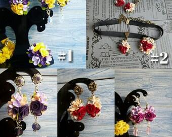 roses jewellery, roses earrings, lilac pendant, bride earrings, lilac ring, bridesmaids lilac, roses pendant, lilac wedding, lilac earrings