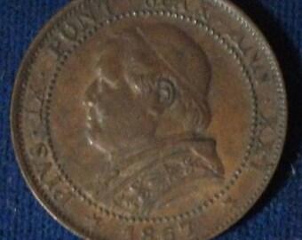 1867 XXIR Papal States Soldo XF
