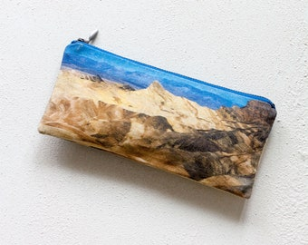 SALE Desert Landscape Pouch - Printed Pencil Zipper Pouch, Mountains Nature Pencil Case and Make Up Bag, Back to School
