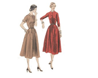 Flared Dress with Fitted Bodice Size 16 Bust 34 Vintage 1950s Vogue Sewing Pattern 7887  Elegant Evening Cocktail/Day Dress