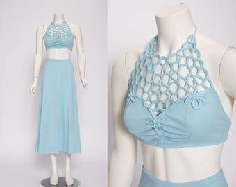 aqua blue halter top and skirt set vintage 1970s • Revival Vintage Boutique