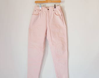 """Light Pink Jeans High Waist/Rise tapered leg Baby Dusty Pink 28"""" waist Lizwear Liz Claiborne Jeans 1990's Mom jeans"""