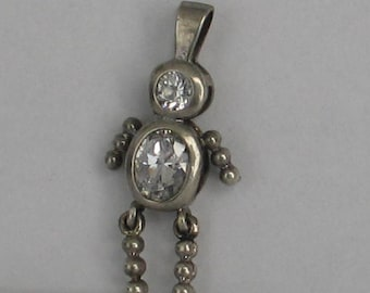 SALE Vintage Sterling Silver Jeweled Human Charm