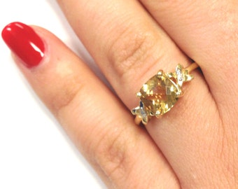 Stunning 7.7mm Checkerboard Citrine 14k Yellow Gold Ring