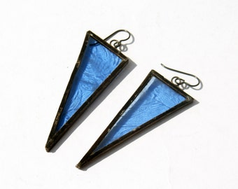 EARRINGS -  Antiqued Blue Triangle Earrings - Stained Glass Earrings