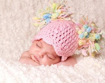 SALE  Baby Girl Hat - Baby Hat - Baby Hat - Newborn Baby Pom Pom Hat - Girly Pink with Pastel Textured Pom Pom's