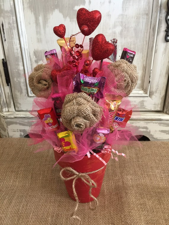 Burlap Flower Candy Bouquet / Candy Bouquet / Candy Pot /