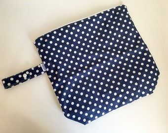 Wet /Dry Bag with Snap Handle - Waterproof Zipper Bag, Navy Polka Dots