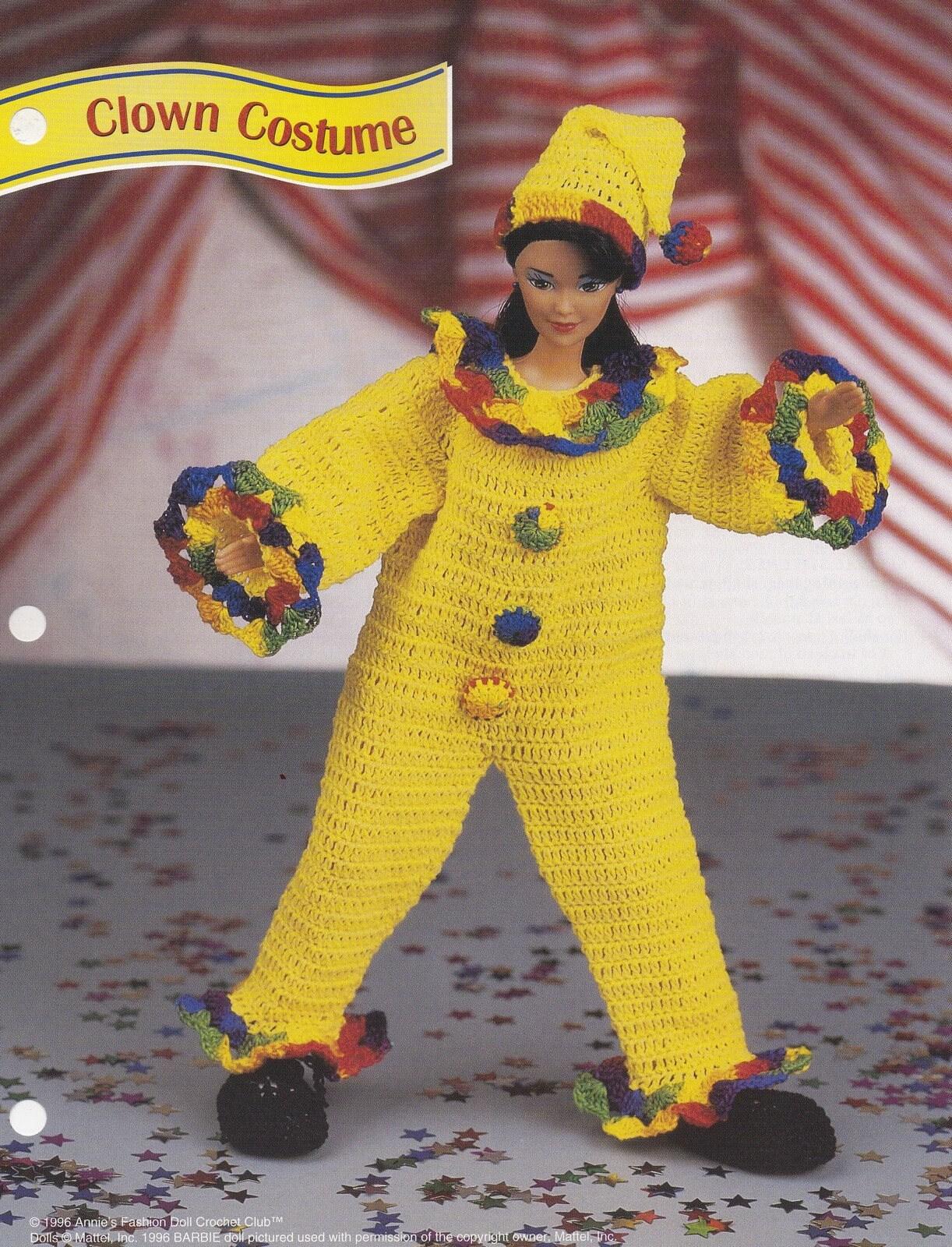Clown-Kostüm Annie Attic Mode Puppe häkeln Muster Club