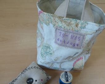 Storage Basket, linen/cotton fabrics upcycled from fabric sample book