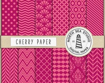 Cherry Digital Paper Pack   Scrapbook Paper   Printable Backgrounds   12 JPG, 300dpi Files   BUY5FOR8