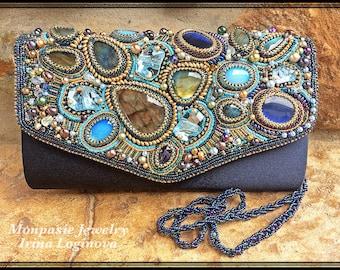 Bag! Labradorite and Swarovski crystals seed bead embroidered satin evening clutch bag. Bead embroidered bag