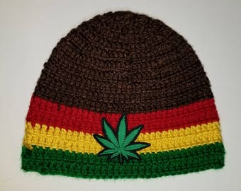 420 Rasta Beanie with Brown Base Super Soft and Thick!