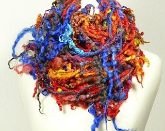 180g. Hot Summer. Art yarn - handspun - OOAK. Indian Summer, Boho. Infinity scarf, (SAORI) weaving, knitting or crocheting, fringe/trim
