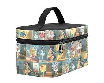 Vintage Paint By Numbers Ballerinas Toiletry Bag - Dancers Dopp Kit - large zippered makeup bag - waterproof