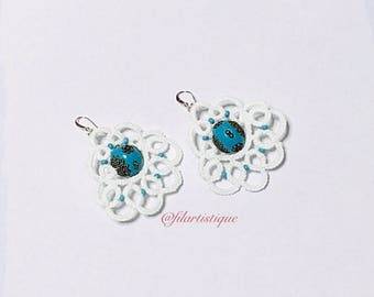 White and turquoise earrings for pierced ears Filartistique tatting