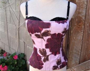 90s Vintage Boned Bustier Corset Top Pink Purple Florals Size S