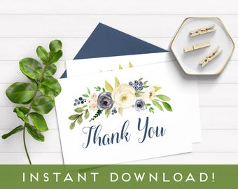Watercolor Floral Thank You Note, Confetti Thank You Note, Navy Thank You Note, Thank You Note Instant Download