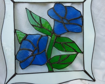 Vintage Lead Stained Glass Floral Suncatcher