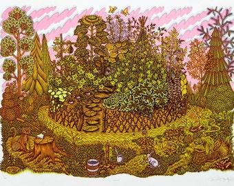 Garden - Woodcut Print, Woodblock Print by Tugboat Printshop