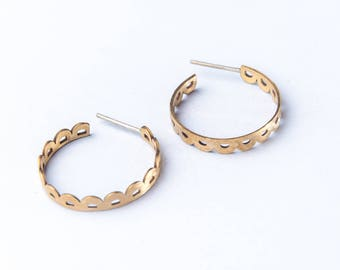Bronze hoop earrings - lace earrings