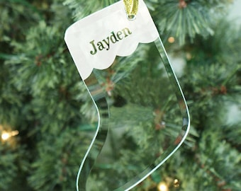 Personalized Glass Stocking Ornament, personalized ornament, christmas, christmas decor, christmas ornament, christmas tree -gfy825464S
