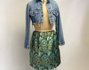 Gold Metallic Floral Brocade Skirt