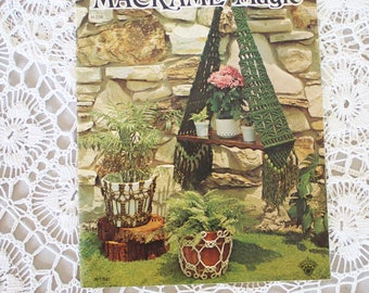 70s Macrame book, Macrame Magic 1975, Plant hanger, Hanging table, Macrame instructions