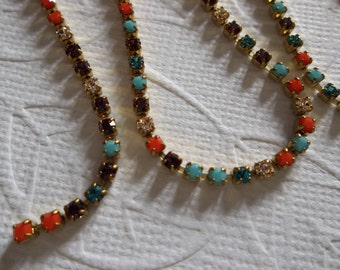 2mm Multi-Color Rhinestone Chain - Brass Setting - Preciosa Czech Crystals - Turquoise Aqua Coral Purple Clear