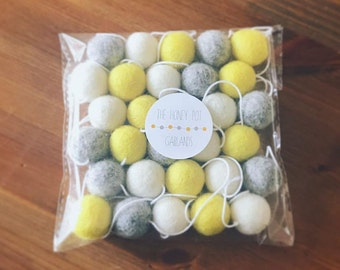 Yellow, grey & ivory felt ball garland