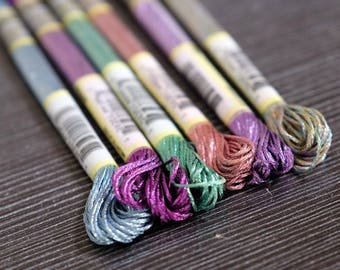 Light Effect Floss Pack 6/Pkg Art 317W 6 Strands High Sheen Colors Metallic Embroidery Floss Cross Stitch Thread