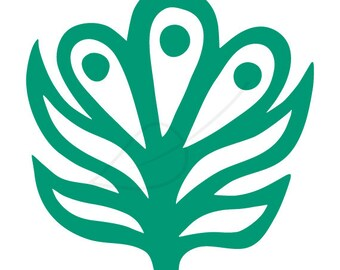 Floral folk art digital stamp clip art in emerald green and black