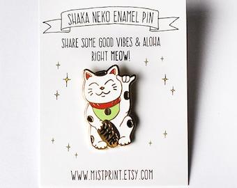 Shaka Neko Enamel Pin