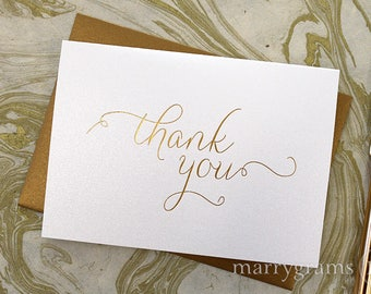 REAL GOLD FOIL Wedding Thank You Note Card Set - Wedding, Baby Shower, Bridal Shower, Bar Mitzvah, Bat Mitzvah All Occasion Party Cards CS01