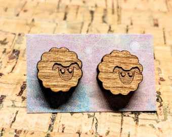 Wood Sheep Earrings - Wood Stud Earrings, Laser-Cut Wooden Sheep Studs, Walnut Wood Earrings, Hypoallergenic, Lamb Earrings