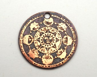 Copper sun charm, round flat solar diagram etched copper pendant, 25mm